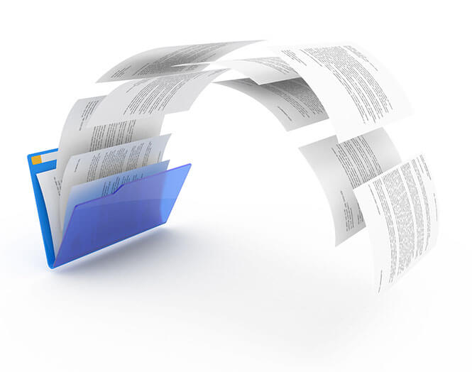 Uploading documents from blue folder. 3d illustration.